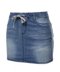 Women's Casual Mini Washed Denim Skirt