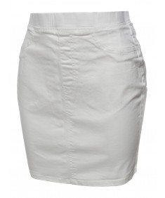 Women's Casual Elastic Waist Band Mini Denim Skirt