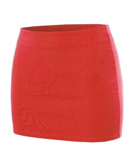 Women's Solid Mini Pencil Skirt