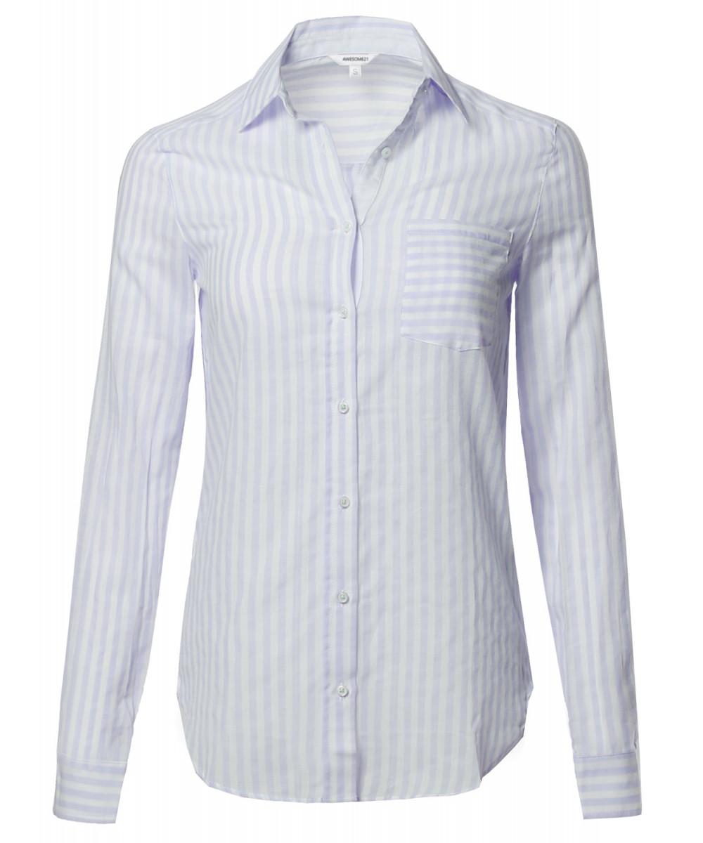 ef5f74fbc1 Women's Lightweight Cotton Striped Roll Up Sleeve Button-Down Shirt ...