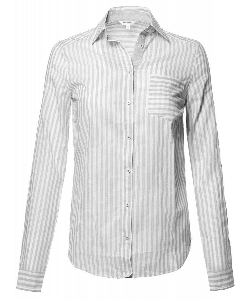 Women's Lightweight Cotton Striped Roll Up Sleeve Button-Down ...
