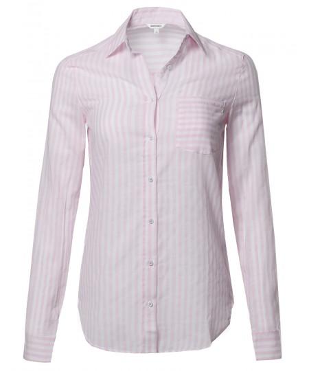 Women's Lightweight Cotton Striped Roll Up Sleeve Button-Down Shirt