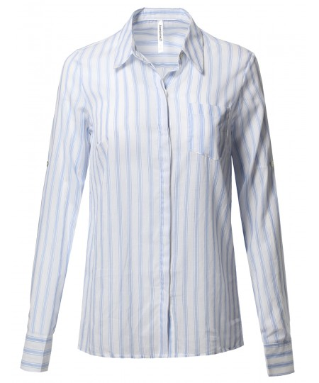Women's Lightweight Cotton Striped Roll Up Sleeve Button-Down Shirt