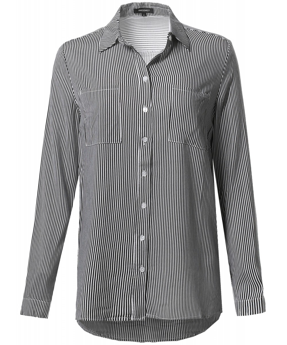 Women 39 s oversize striped chest pockets button down shirt for Womens patterned button down shirts