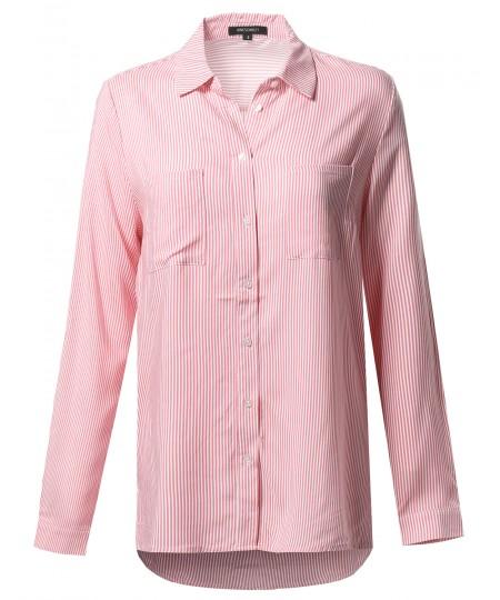 Women's Oversize Striped Chest Pockets Button-Down Shirt