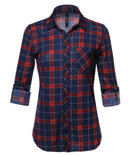 Women's Casual Classic Roll Tab Sleeve Button Plaid Button Down Shirts