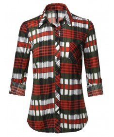 Women's Casual Lightweight Roll Up Long Sleeve Plaid Button Down Shirts