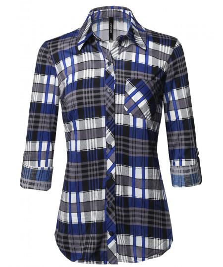 Women's Casual Lightweight Roll Up Long Sleeve Plaid Button Down Shirts