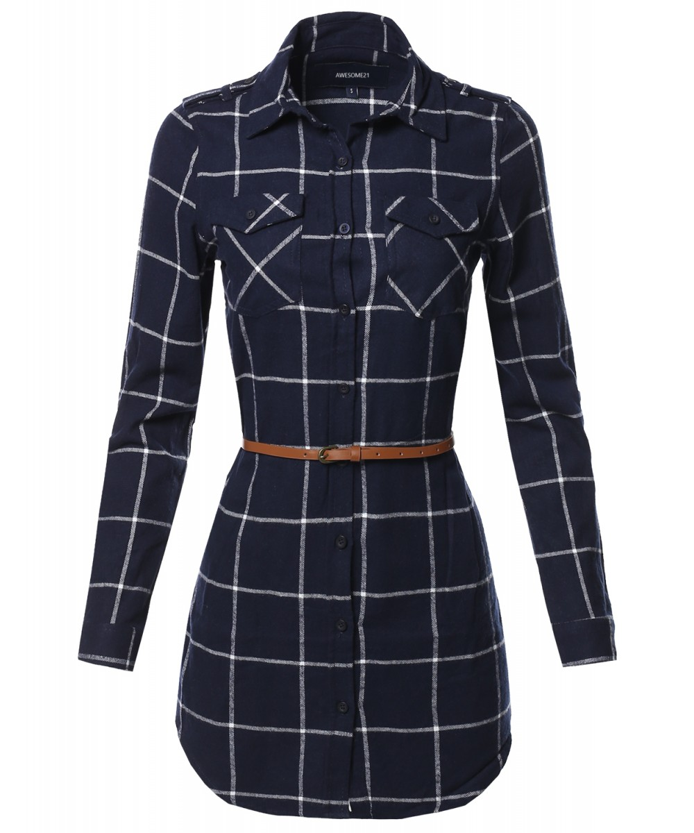 Women's Casual Adjustable Sleeve Button Down Flannel Plaid ...