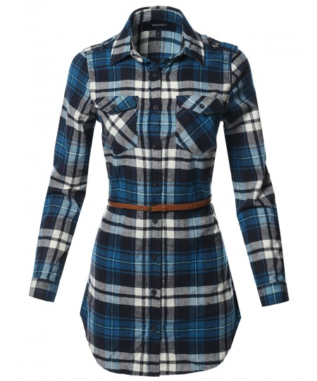 Women's Casual Adjustable Sleeve Button Down Flannel Plaid Tunic Shirts with Belt