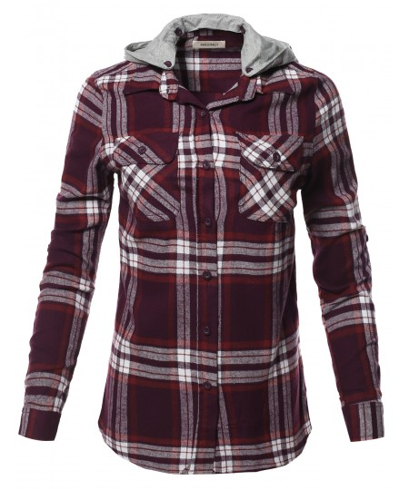 Women's Casual Flannel Roll-Up Sleeve Button-Down Shirts with Hoodie