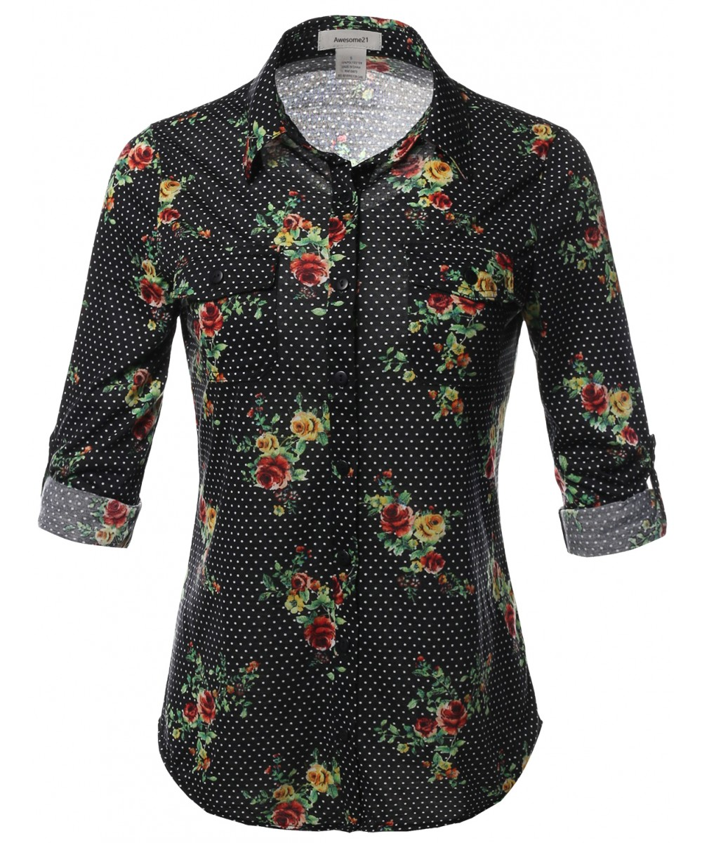 Women 39 s casual floral print roll up sleeves button down for Floral print button up shirt