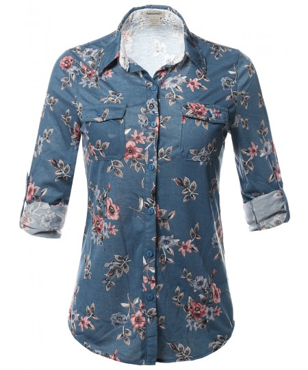 Women's Casual Floral Print Roll Up Sleeves Button Down Shirt Top