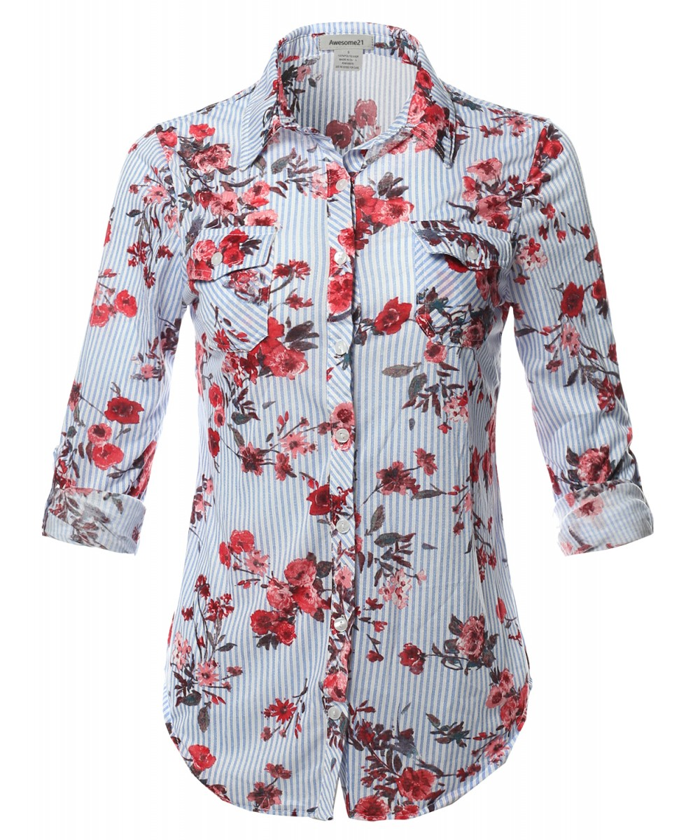 Women 39 s casual floral print roll up sleeves button down for How to roll up sleeves on women s dress shirt