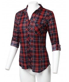 Women's Casual Lightweight Roll Up Long Sleeve Button Down Plaid Shirt