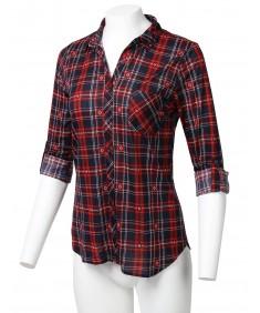 Women's Casual Lightweight Roll Up Long Sleeve Button Down Plaid Shirt