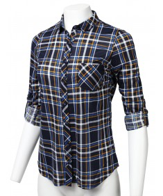 Women's Casual Lightweight Roll Up Long Sleeve Checker Button Down Shirt