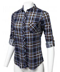 Women's Casual Lightweight Roll Up Long Sleeve Checker Button Down Shirt