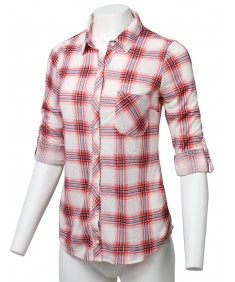 Women's Casual Lightweight Roll Up Sleeve Plaid Button Down Shirt