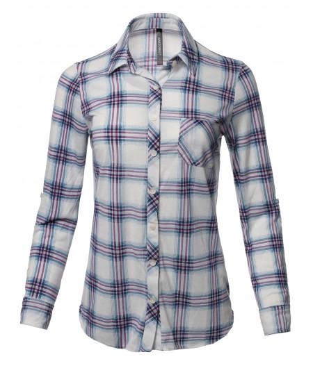 Women's Casual Lightweight Roll Up Sleeve Plaid Button Down Shirt