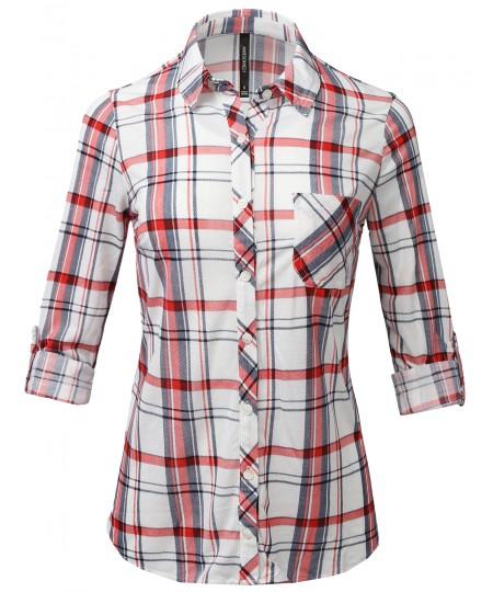 Women's Casual Lightweight Roll Up Sleeve Checker Button Down Shirt