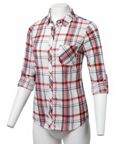 Women's Casual Lightweight Roll Up Sleeve Checker Button Down Shirt