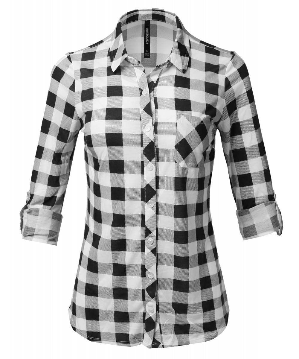 Women 39 s casual lightweight rolled up sleeve button down for Plaid button down shirts for women