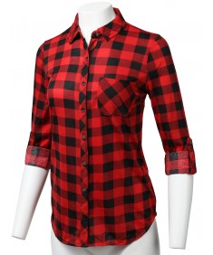 Women's Casual Lightweight Rolled Up Sleeve Button Down Plaid Shirt