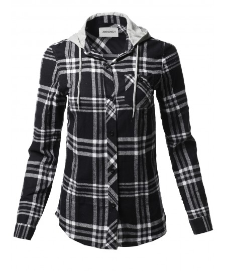 Women's Causal Flannel Long Sleeve Button-Down Mandarin Collar Hoodie Shirt