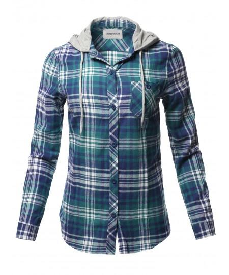 Women's Causal Flannel Long Sleeve Button-Down Mandarin Collar Hoodie Shirt