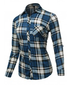 Women's Casual Rolled Up Sleeve Button Down Plaid Checker Shirts