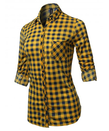 Women's Casual Lightweight Long Sleeve Button Down Plaid Shirts