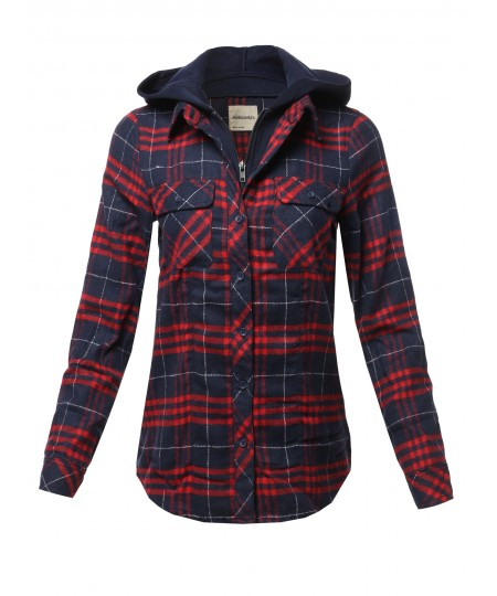 Women's Casual Hooded Flannel Plaid Shirt