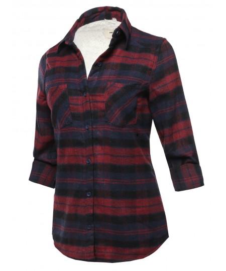 Women's Casual Sherpa Lining Flannel Shirt