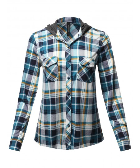 Women's Casual Plaid Checker Mandarin Collar Hoodie Shirt