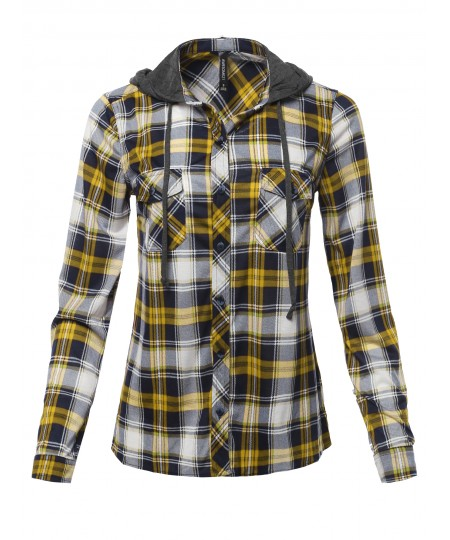 Women's Classic Plaid Cotton Hoodie Button-up Flannel Shirts