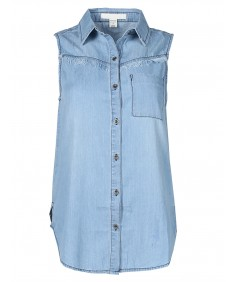 Women's Soft Denim Chambray Sleeveless Fringe Button Down Shirt Top