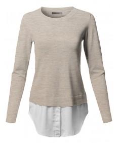 Women's Classic Soft Stretch Shirt Tail Contrast Viscose Sweater Top