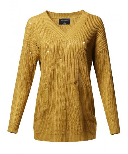 Women's Casual Solid Stretch Long Sleeve V-neck Distressed Knit Sweater