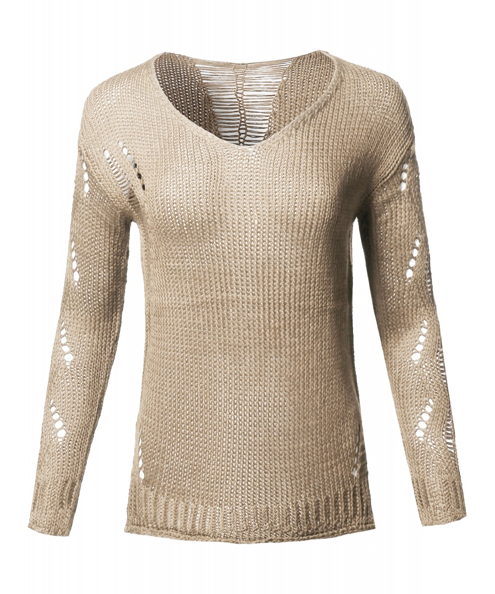 5899ed81db Women s Casual Solid Stretch Long Sleeve V-neck Distressed Knit Sweater