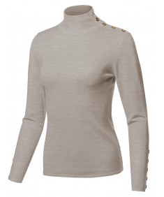 Women's Casual Basic Gold Button Detail Soft Long Sleeve Mock Neck Knit Sweater