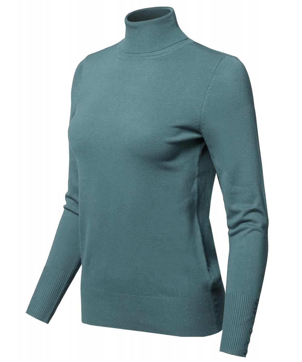 Women's Casual Solid Long Sleeve Button Detail Turtleneck Sweater ...