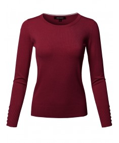 Women's Classic Casual Solid Long Sleeve Soft Pullover Various Color Sweater