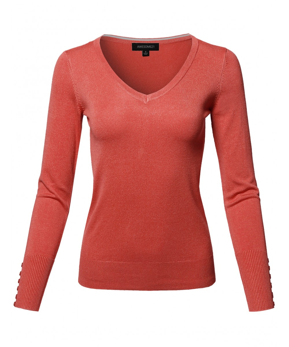 Women's Classic Casual Solid Long Sleeve V-Neck Pullover Sweater ...