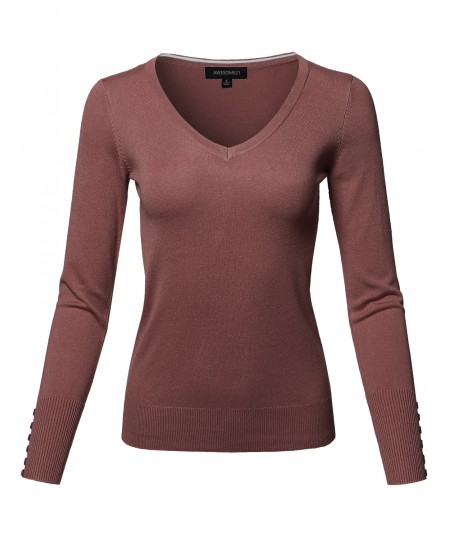 Women's Classic Casual Solid Long Sleeve V-Neck  Pullover Sweater