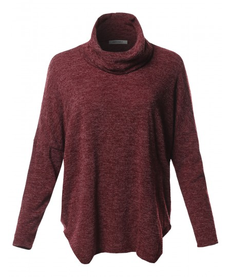 Women's Casual Loose Fit Drop Shoulder Cowl Neck Sweater Top - MADE in USA