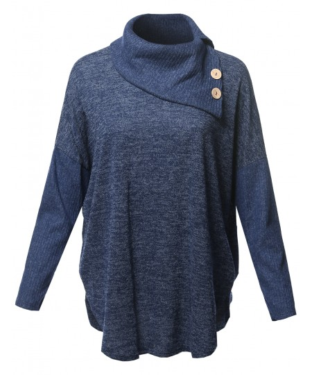 Women's Loose Fit Drop Shoulder Cowl Neck Sweater with Button Detail Top - MADE in USA