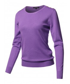 Women's Solid Button Detailed Round Neck Viscose Knit Sweater Top