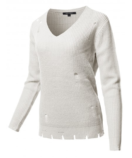 Women's Casual Solid Distressed Detail V-Neck Over-Sized Knit Sweater