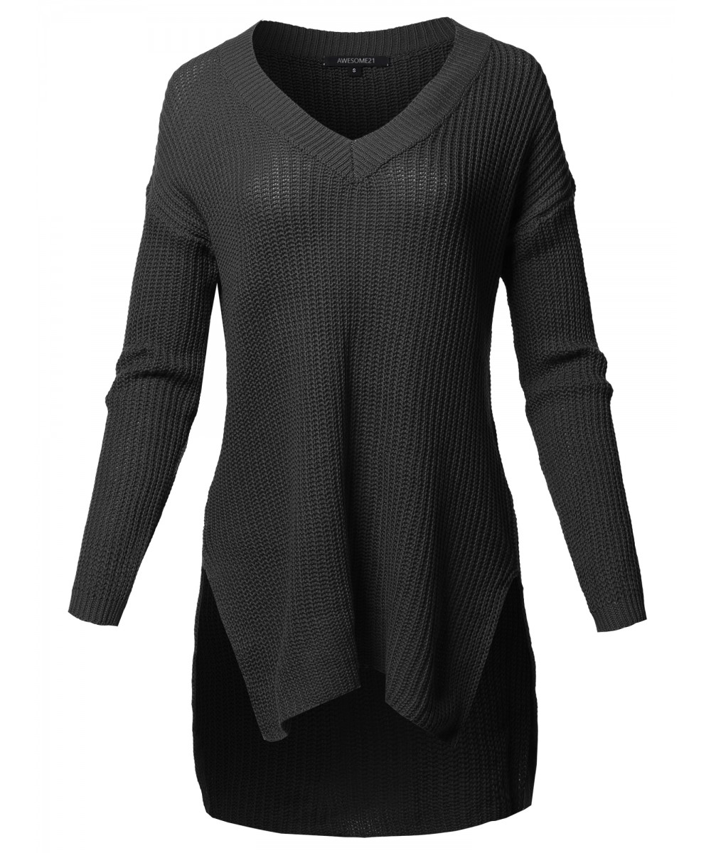 FashionOutfit Women/'s Top Solid Distressed Detail V-Neck Over-Sized Knit Sweater